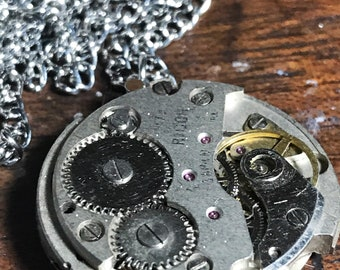 Full Watch Movement Steampunk Pendant Necklace