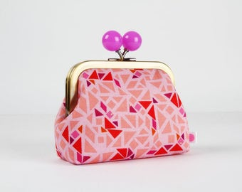 Metal frame coin purse with color bobble - Puzzle in lilac - Color dad / Geogram / Samarra Khaja / Japanese fabric / Mosaic / Red purple
