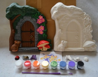 Paint Your Own Ceramic Fairy Door Plaque Kit
