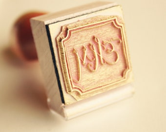 Custom Monogram Stamp, Hand Lettered Initials, Custom Rubber Stamp, Personalized Gift, Initials Stamp, Library Stamp, Small Stamp