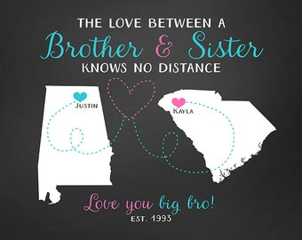 Gift for Brother, Sister Long Distance Maps, Birthday Gift for Sibling, Military Brother, Son and Daughter, Moving, Going Away, Leaving