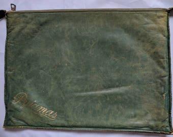 Vintage 1950s Green Leather Pyjama Case