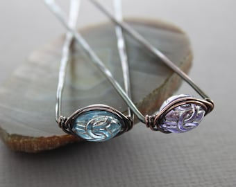 Set of two hair forks with blue and purple etched oval acrylic beads - Hair accessory - Hair pin - HP008