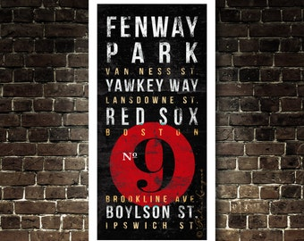 Boston Red Sox Subway Typography Art - No.9 Ted Williams - Featuring Fenway Park Neighborhood Streets - Vintage UNFRAMED Print