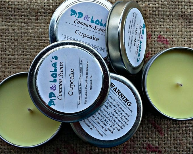 Cupcake Scented Travel Tin Candle - Pip & Lola's Common Scents - Soy Candle Wax, Travel Tin, EcoSoy, Candle, Lightly Scented