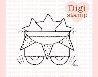 4th of July Wagon Digital Stamp - Wagon Digital Stamp - Digital 4th of July Stamp - Wagon Art - 4th of July Card Supply