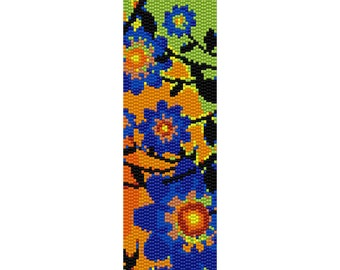 Wild Flowers Peyote Bead Pattern, Bracelet Cuff, Bookmark, Seed Beading Pattern Miyuki Delica Size 11 Beads - PDF Instant Download