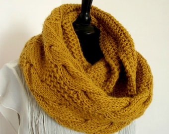 KNITTING PATTERN SCARF - London Scarf Cowl Pattern - Winter Knit Big Bulky Cable stitch knitted Scarf Woman Cowl pdf file Instant Download