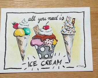 Hand painted greeting card ice cream for download