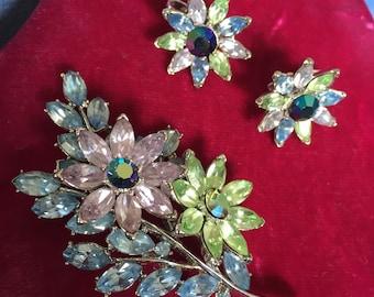 Vintage Crown Trifari brooch and earrings