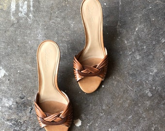 W 7 1/2 / 1970s Inspired Silver and Copper Woven Heels /