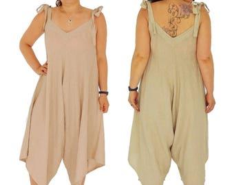 IB600BG jumpsuit balloon overalls medium pants linen vintage oversize layered look beige