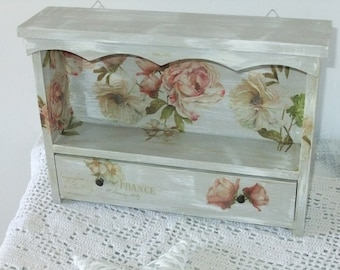 Small shelf with drawer in Shabby Chic style wooden