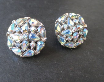 VIntage Retro Blue Aurora Borealis  earring set by Trifari  -      - Estate Find!