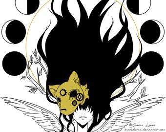 "Soul Fragment Art Print - 8""x10"" or 11x14"" - original anime manga wolf steampunk girl art - Bianca Loran Art"