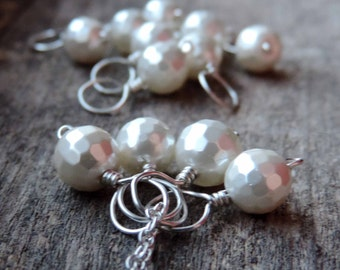 White Faceted Sterling Silver & Mother of Pearl | Handwrapped Bead Pendant | MOPl Charm, Cluster Pendants, Necklace Add-On, Made to Order