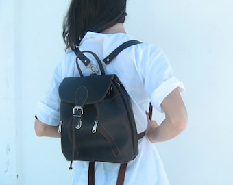 Leather backpack women, Brown leather backpack, leather backpack,leather rucksack small,  sac a dos cuir, sac a dos femme 10 colours