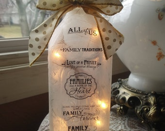 Family wine bottle lamp,gift for mom,mother,lighted wine bottles,home,wine bottle light,lighted wine bottle,bottle lights,decorated bottles