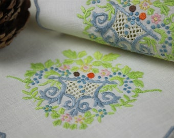 6pcs/set 1960s vintage linen embroidery table mat antique drawnwork table runner colorful placemat