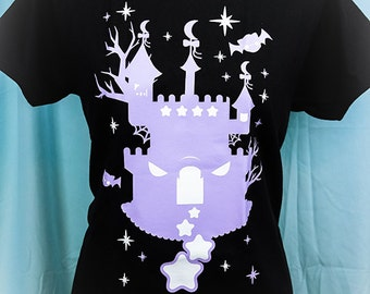 Haunted Twilight Castle Graphic T Shirt Kawaii Fairy Kei Pastel Goth
