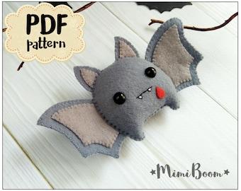 Felt Halloween bat ornament Halloween Pattern bat DIY felt ornament Halloween Tutorial plushies Halloween pattern bat Halloween Felt sewing