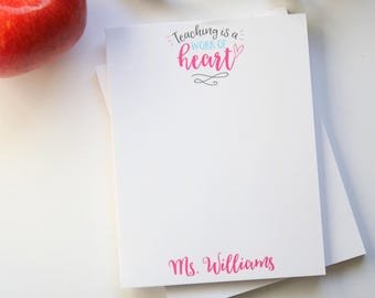 Teacher Appreciation Gift - Personalized Teacher Notepad - Teacher Gift - Back to School Gift - Style: Work of Heart