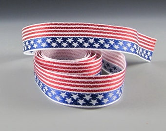 "7/8"" AMERICAN FLAG Jacquard RIBBON 3 yard length and Wholesale Rolls"