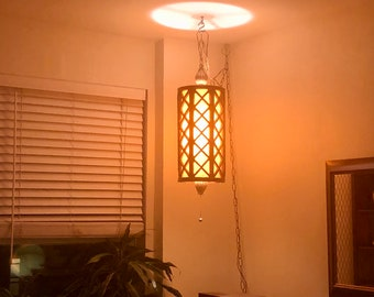 Mid Century Large Hollywood Regency Gold Gilt Pendant Swag Hanging Lamp