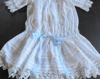 RESERVED FOR NAOMI Victorian Dress Girl of 2 to 4  Vintage French with Lots of Lace and Tucks