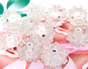 5beads/lot Charm Candy Clear Dot Bubble Rondelle Clear Lampwork gemstone beads 8mmx15mm