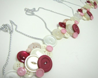 White and pink vintage button necklaces, pink wedding, bridesmaids