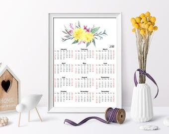2018 Yearly Calendar, Watercolor Calendar, Calendar Full Page Printable, Calendar printable, At-A-Glance 2018 Calendar,  Calendar