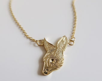 Delicate Fawn Necklace / Gold Plated Sterling Silver Necklace