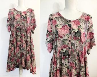 Floral 90's Grunge Loose-fit Dress / Size Large