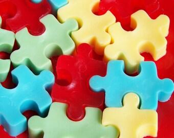 Jigsaw Puzzle Soap Set - Soap Favors, Kids Soap, Watermelon Soap, Novelty Soap, Teacher Gift, School Favors, Autism Awareness Soap, Vegan