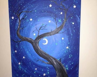 Once Upon a Night Acrylic Painting Original