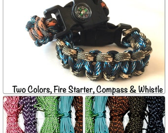 Paracord Survival Bracelet! Two Colors Woven, Choose size, color, whistle, fire starter, buckle, compass! Children And Adults! Custom Sizes!