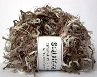 crystal palace yarns squiggle . 100yd . mink mix 9292 . taupe greige white funky novelty eyelash art yarn . knitting crochet weaving yarn