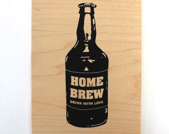 Beer - Screen print on wood veneer // Bière - Sérigraphie sur placage de bois