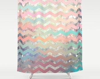 Fabric shower curtain- modern chevron pattern- home decor-bathroom decor- pastel colors-pink-mint green