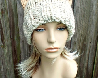 Extra Long Knit Hat Womens Hat - Long Cat Beanie Hat in Neutral Ombre Knit Hat - Womens Accessories Winter Hat