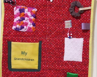 Fidget Quilt for Dementia patient, Alzheimer activity blanket, Wheelchair Patients, Activity mat, Gift for Grandmother