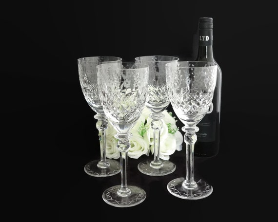 4 large crystal wine glasses or water goblets, Rogaska brand, Gallia pattern,  etched and cut, very fancy, 300mls, 1970s