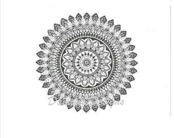 Intricate black and white mandala