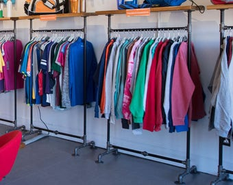 Top Shelf Garment rack. Retail Fixture, Industrial Modern Clothing & Coat Rack. Store Fixture, Clothes Rack and Coat Grab