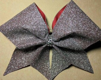 Silver Glitter Red Base Bow ~Adorable Designs NH~Cheer Bow~