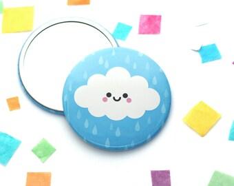 Happy Cloud Pocket Mirror, Small Mirror, Kawaii Gift, Purse Mirror, Blue Girlfriend Present
