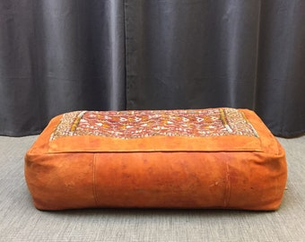 Moroccan leather and woven textile foot stool pouffe
