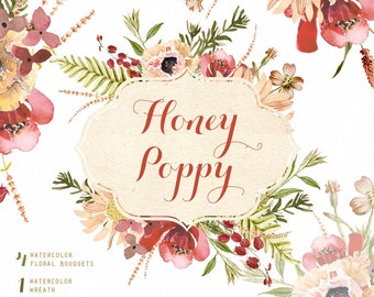 Honey Poppy Watercolor Bouquets, Wreath hand painted clipart, floral wedding invite, greeting card, diy clip art, flowers