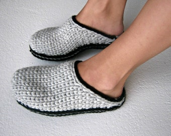 Clog Slippers, Crochet Slippers, Crochet Knit Clogs, Adult Slippers, Wool Clogs, Slip In Clogs, Toe up Slippers, Gift Idea, UnaCreations